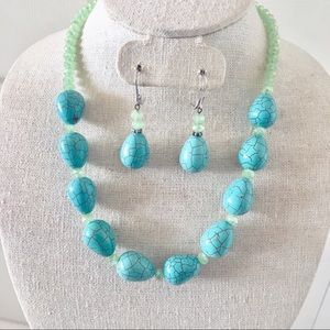 Turquoise and Crystal Necklace Set